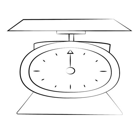 Black outline vector weighing machine on white background. Vector