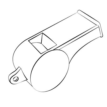 Black outline vector whistle on white background.