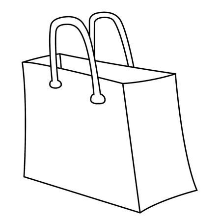 renders: Black outline vector bag on white background.