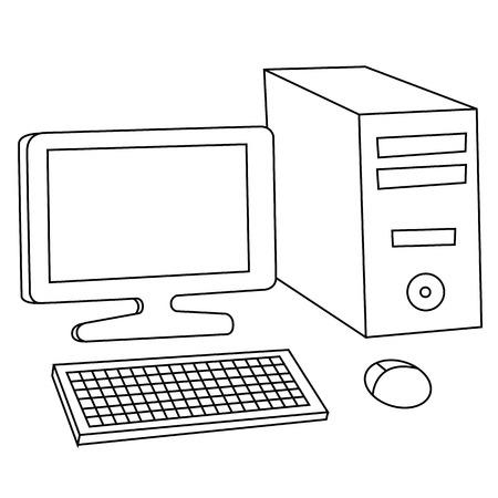 Black outline vector computer on white background. Vector