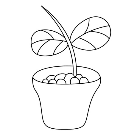 Black outline vector jardiniere on white background. Vector