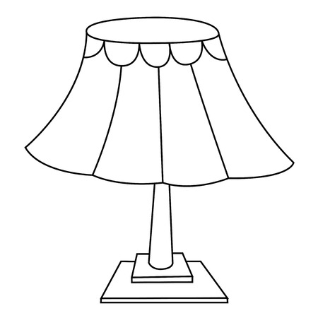 Black outline vector lamp on white background. Vector