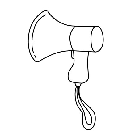 Black outline vector megaphone on white background. Vector