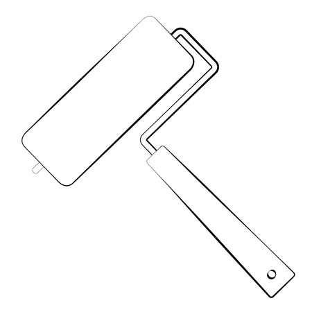 rough draft: Black outline vector paint roller on white background.