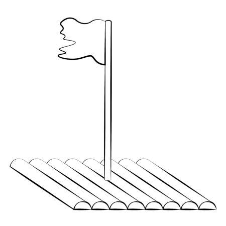 Black outline vector raft on white background. Illustration