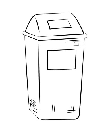 Outline of garbage can or recycle bin on white background. Vector
