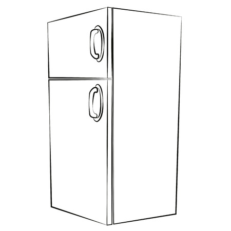 Black outline vector refrigerator on white background. Vector