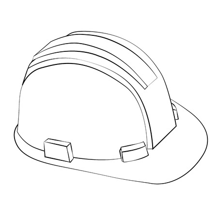 Black outline vector safety cap on white background. Stock Vector - 25362476