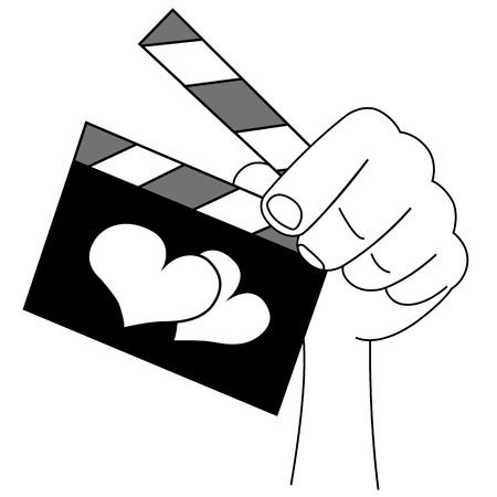 Black outline vector slate film of love on white background. Vector