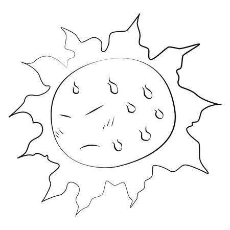 Black outline vector sun on white background. Vector