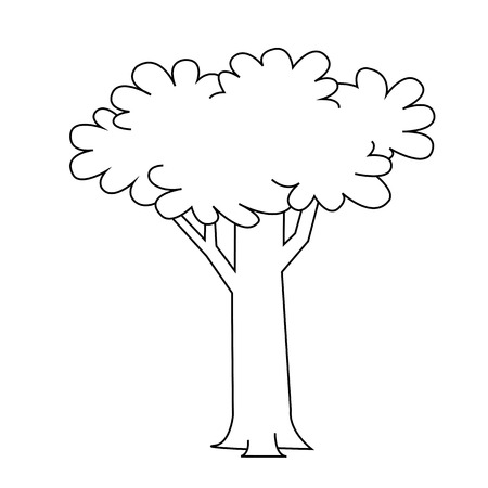 Black outline vector tree on white background. Vector