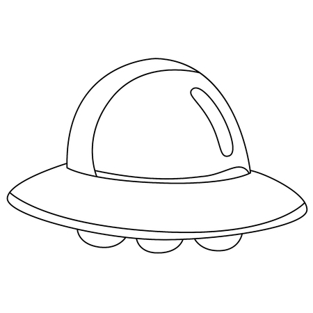 Black outline vector UFO on white background. Vector
