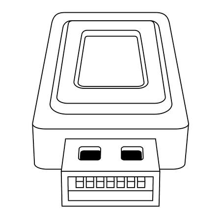 gigabyte: Black outline vector USB on white background.