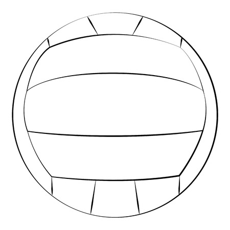 Black outline vector volleyball on white background.