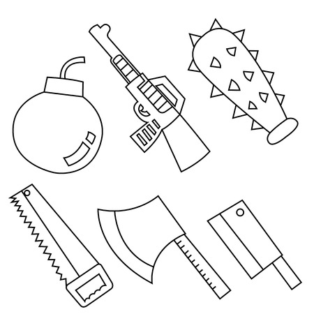truncheon: Black outline vector weapon on white background.