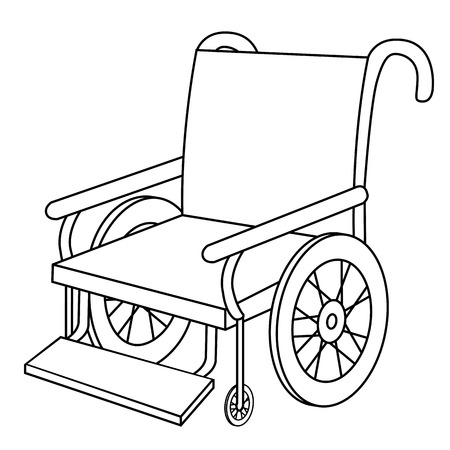 Black outline vector wheel chair on white background. Illustration