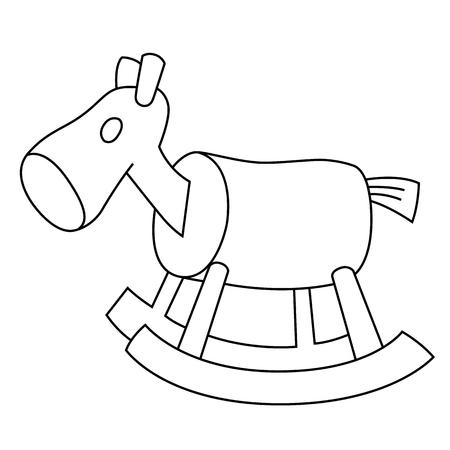 Schwarzer Umriss Vektor hölzerne Pferd auf weißem Hintergrund. Standard-Bild - 25362321