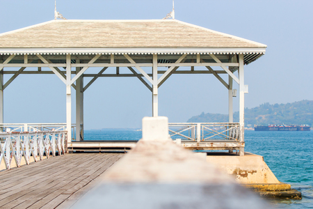 Pavilion made ​​of wood in the middle of the sea. photo