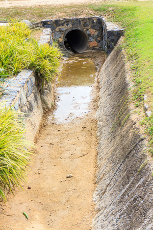 watercourse: No water flowing through the Watercourse. Stock Photo