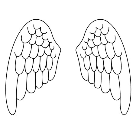 Black outline vector angel wings on white background.