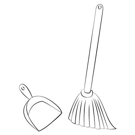 primitive tools: Black outline vector Broom & Dustpan on white background.