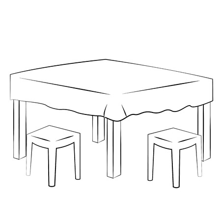 dining table: Black outline vector Dining table on white background.