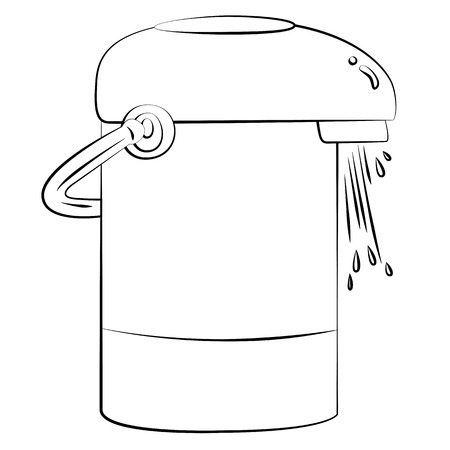 Black outline vector Electric kettle on white background. Vector