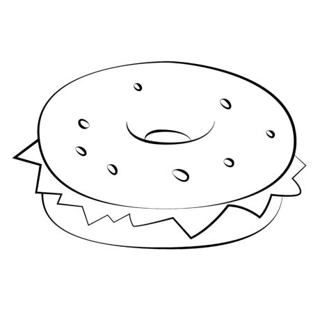 mustard seed: Black outline vector Hamburger on white background.