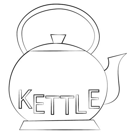 chinese tea pot: Black outline vector kettle on white background.