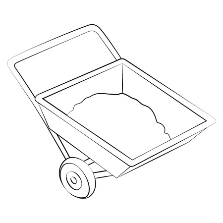 Black outline vector Sand Cart on white background. Illustration