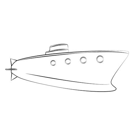 periscope: Black outline vector Submarine on white background.