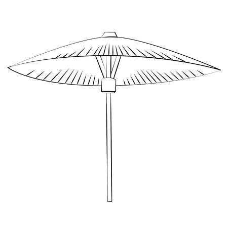 brolly: Black outline vector umbrella on white background.