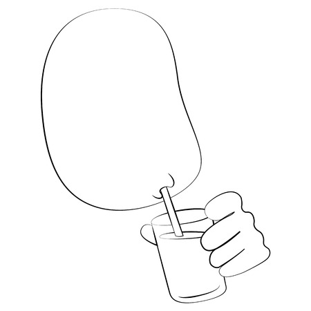 bald girl: Black outline vector Drinking water on white background.
