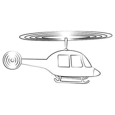 conveyances: Black outline vector helicopterl on white background.