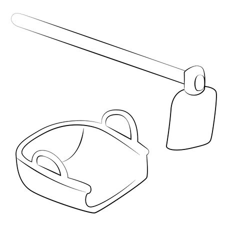 hoe: Black outline vector Hoe and Bucket on white background.