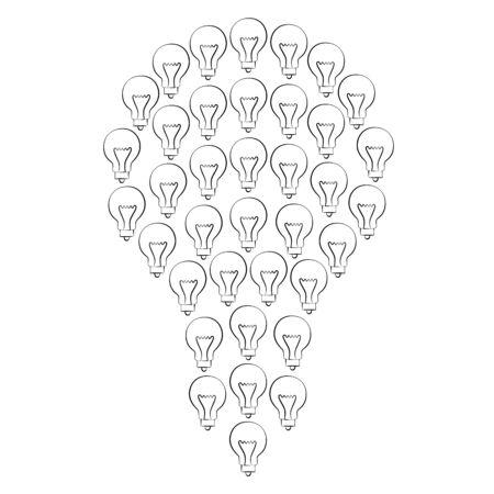 lamp outline: Black outline vector lamp on white background. Illustration