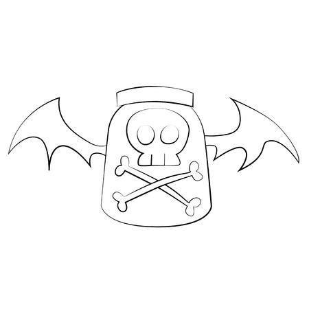 poison: Black outline vector Poison on white background. Illustration