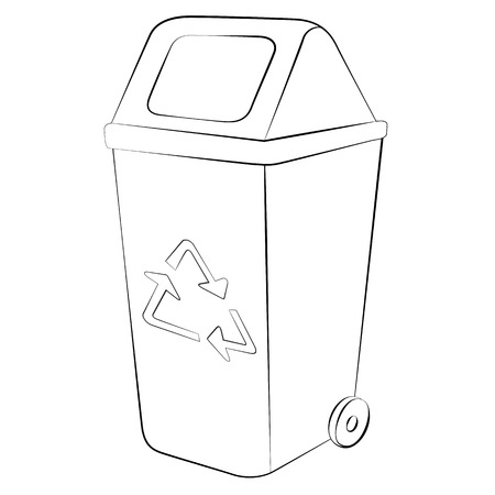 Outline of garbage can or recycle bin on white background.