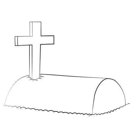 tomb: Black outline vector Tomb on white background.