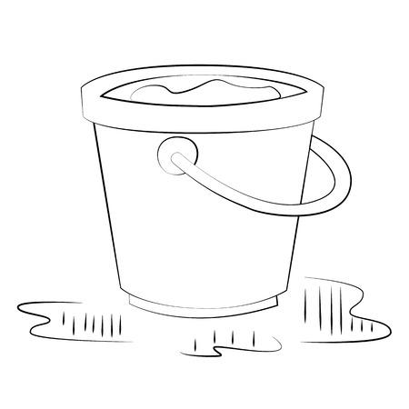Black outline vector bucket on white background. Illustration
