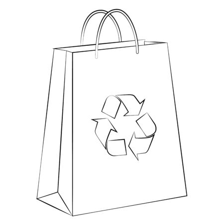 renders: Vector paper bag to reduce global warming is isolated on a white background. Illustration