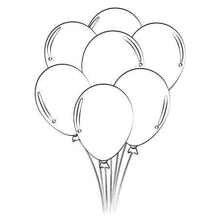 balon: Black outline vector balloons on white background.