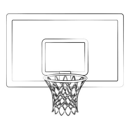Black outline vector Basketball hoop on white background.