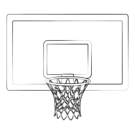 Black outline vector Basketball hoop on white background.