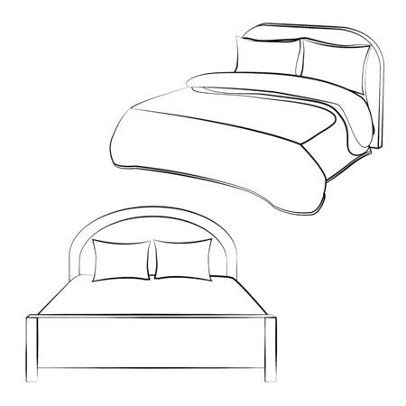 Black outline vector Bed on white background.