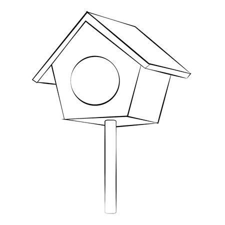Black outline vector Bird house on white background.