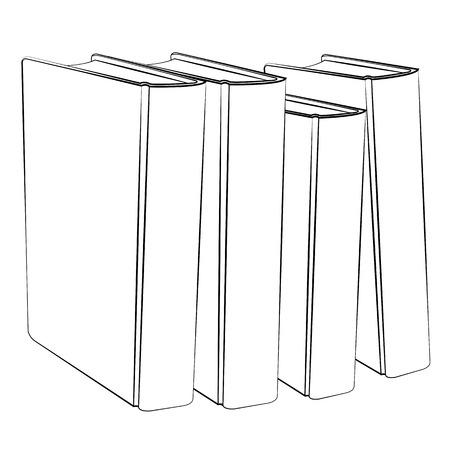 Black outline vector Book on white background.