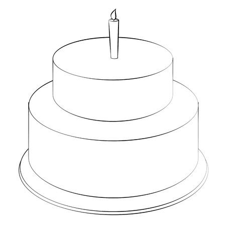 Black outline vector Cake on white background.