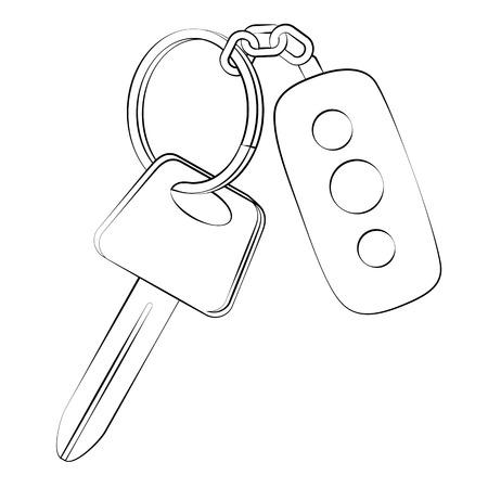 remote lock: Contorno negro clave vector coche en el fondo blanco.