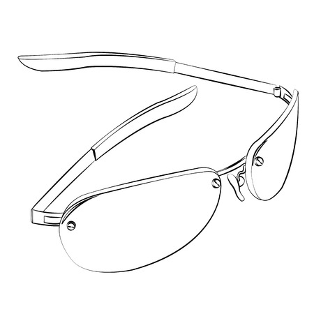 opthalmology: Black outline vector glasses on white background. Illustration